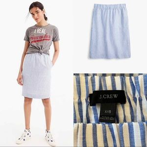J crew black label pull on linen skirt in stripe